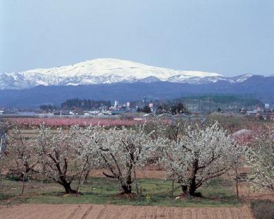 春の月山(西川町)